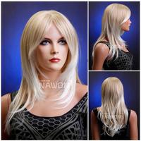 Free Shipping High Quality Hair 100% Kanekalon Wig Long Straight Medium Blond Wigs Fanshion Girls Lady Woman Hairpiece W3472