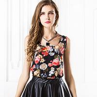 Hot Sale Fashion New Women Chiffon Shirt Short Sleeve Summer O-Neck Print Blouses Top Loose Shirt For Female Free Shipping 1