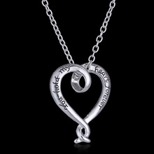 Valentine s day Gift You Hold My Heart Forever Engraved Charms Open Heart Silver Plated Pendant