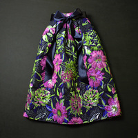 New European Royal Vintage Style Retro Golden Jacquard Flower Print Banquet Skirt Large Bow Belted Saias Curtas Femininas Purple