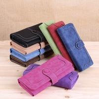 Fashion lady Women Vintage Wallet Matte Stitching Women Retro Long Brand Purse Clutch Handbag Card Holder Purse