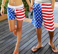 New! American Flag Beach Shorts Men Swimwear Women Beach short Pants Black White Stripe Stars Lovers Sport short Swimming Surf