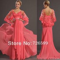 HYL New Gorgeous V-Neck Handcraft Flowers Evening Dresses Pink Chiffon Sheath Floor Length Pageant Prom Dresses Custom Size