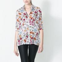 Spring Blouse Sweet Shirt Flower Printed Tops Joker Casual Streetwear Blouse Long Sleeve Lapel Collar Fashion Shirt EC9267