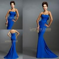 Royal Blue Satin Strapless Slim Mermaid Formal Evening Prom Dresses Long 2015