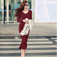 2015 spring winter women's solid classic new fashion casual soft long-sleeved ladies elegant o-neck Ultra long dress