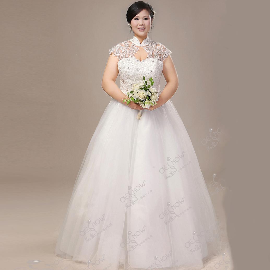 Wedding dress with elizabethan collar