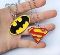 10pcs/lot Superman Batman Marvel comic necklace pendant fashion jewelry Heroes Series Action&Toy Figures wholesale keychains