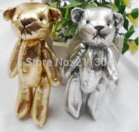 20pcs Gold/silver rare PU teddy bears,cartoon animal Ted bouquet,wedding Birthday gift pendant,key chain/ring of schoolbag girls