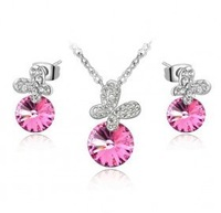 Crystal accessories fashion butterfly austria crystal necklace grape stud earring - butterfly lover