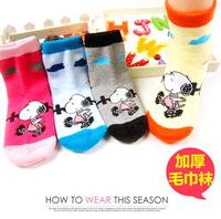 [Dog] Kids socks Child 100% cotton autumn and winter thickening baby socks cartoon towel stucco student socks
