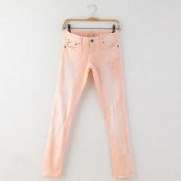 Summer Pencil Pants Women Jeans Woman Cotton Denim Gradient Hole Bleached Plus Size Leggings