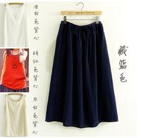 2015 spring summer Women's Linen Skirts Elastic Waist Original Design Vintage Casual Long Linen Maxi Skirts match with tank