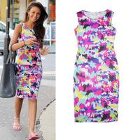 2015 Spring & Summer Casual Midi Printed Bodycon Dress for Women Sleeveless Slim Stretch Tank Dress Plus Size XL XXL