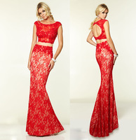 Sexy Two 2 Piece Prom Dresses To Party Beading Ivory/Red Lace Mermaid Long Prom Dress Robe De Soiree Vestidos Para Formatura2015