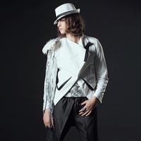 Men brand fashion slim hair stylist Bar Korean male white suit suit bar singer stage costumes tide male clothing