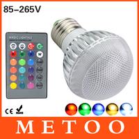 New Arrival LED RGB Lamp 10W  E27 LED Bulb 85-265V with 24 Keys Remote Control Multiple Colours led rgb Stage lighting