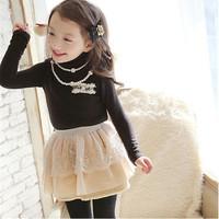 5pcs/lot 2015 spring Korean girls T-shirt manufacturers selling lace fake pocket girl T-shirt warm top quality