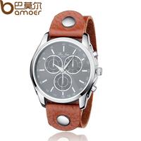BAMOER Vintage Brown Cow Leather Band Unisex Watch Quartz Fashion Black Face Wristwatch PI0559