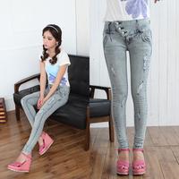 Dropshipping!2015 Korea Slim jeans hin thin Elasticity pencil pants Lady Denim pant