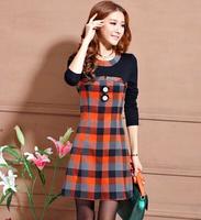 hot 2015 new desigual autumn winter elegant round collar women's plaid long-sleeve casual one-piece dress S-XXL LP0001