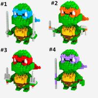 LOZ Teenage Mutant Ninja Turtles TMNT Raphael turtle brothers figure building Blocks Diamond bricks Toy gift 80pcs free shipping