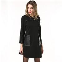 L-XXXXXL Plus size Dresses Brand 2015 Spring Women PU patchwork Pocket Casual Dress Big Size Warm Long sleeve vestidos 5XL