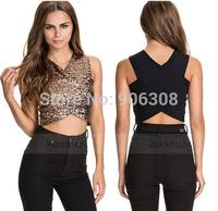 Full Sequins Sexy Crop Top Vest Deep V-neck Slim Stitching Tops Shirt Women New 2015 Camisole blusas femininas
