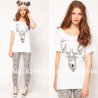 Fashion Brand Designer Tops Cotton T-Shirt for Women Casual Deer Print Tees White T-Shirts Womens Summer Clothing