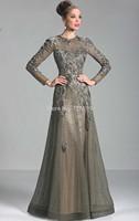 HYL New Noble Gray A-Line High Collar Evening Dresses Applique Tulle Long Sleeve Floor-Length Prom Dresses Custom Size