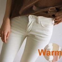 New arrival plus velvet thickening white black jeans female skinny pants pencil pants female tight