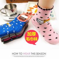 [Flying bear] Kid socks Child boneless 100% cotton thickening winter socks cartoon loop pile towel napped hosiery
