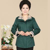 Middle-Aged Women Plus Size 2015 Spring Cardigan Jacket Zipper Solid Color Plaid Shirt Collar Harajuku XL-4XL