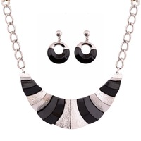 New Ethnic Big Sliverl Plated Black Charms Chunky Pendants Necklaces & Drop Earring for Women Statement Jewelry Sets