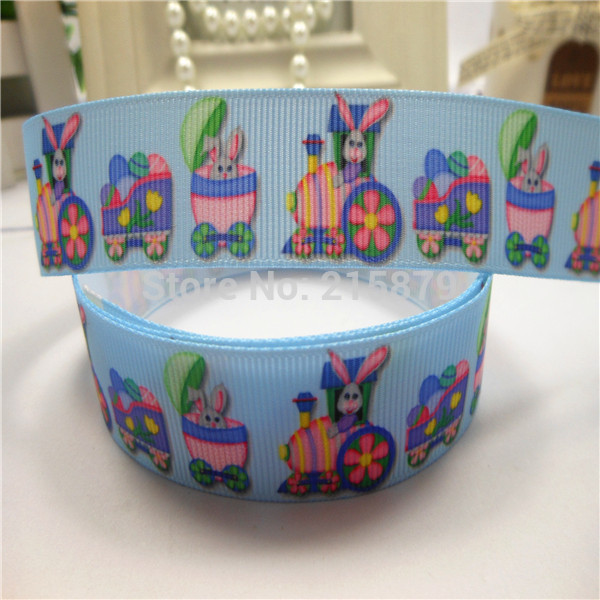 "2015 Happy Easter 7/8"" 22mm Cartoon Easter Rabbit And Egg Printed Grosgrain Ribbon Hair Accessories(China (Mainland))"