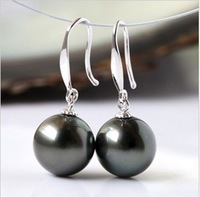Charming AAA 10-11MM natural south sea BLACK pearl earring 14K White gold