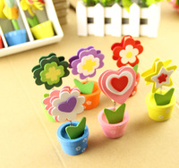135pcs/lot wood Made lovely flowers potted message folders / Memo Clip / photo folder