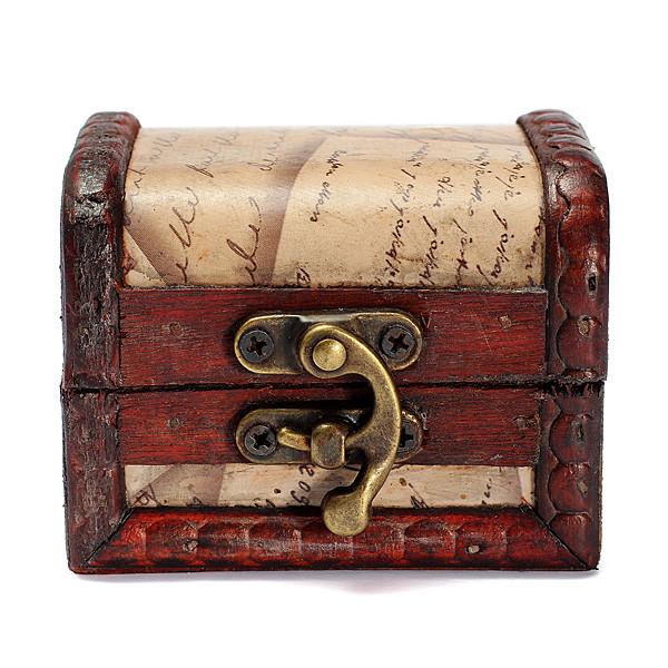 Women Accessories Retro Jewelry Boxes Vintage Stamp Flower Bronze Metal Lock Treasure Chest Handmade Wood Box(China (Mainland))