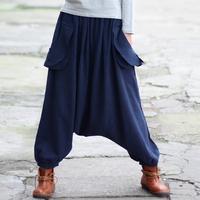 2015 Women Pants Harem Pants Loose Elastic Waist Cross-pants 2 Colors Solid Casual Linen Sport Pants Women Trousers 0103
