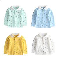 2015 Boy girl Shirt Tee Top Blouse cartoon bear turn down collar kid clothing children clothes wear