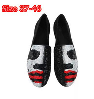Plus Size Black Men Brand Flats With Crystal Designer Male Slip On Punk Shoes Face Print gz New 2015 Spring High Quality Loafers