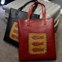 2015 New designer brand cute fish vintage handbags women's fashion casual handbag lady's shoulder bag retro bag PU leather