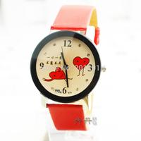 Romantic Love Gift ! Fashion Women Sweet Heart Cute Red Trap Quartz Watch 3768 Free Shipping