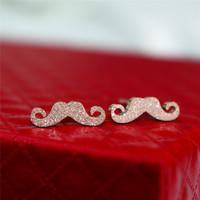 Rose gold stud earring 18k color gold scrub jewelry titanium anti-allergic