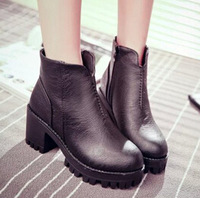 Hot sale women round toe fashion autumn leisure ankle zipper boots size 39 pu leather chunky black brown martin boots