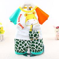 2015 New cotton baby summer suit character Giraffe children clothing set 3158