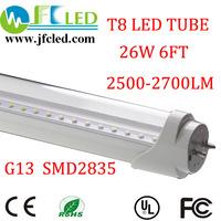 Free shipping 100pcs 6ft led tube 1800mm led tube 26w/28w/30w T8 led fluorescent tube lamp 2700-3100lm 110v/240v t8 led light