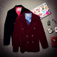Free shipping! New men's British gentleman fashion simple wild punk velvet suit Slim
