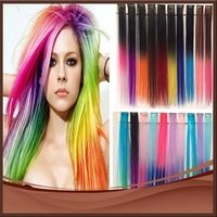 """Wholesale 200pcs/lot New 20"""" Straight 20 Colored Colorful ladies Clip On In Hair Extensions Hairpiece Free Shipping"""