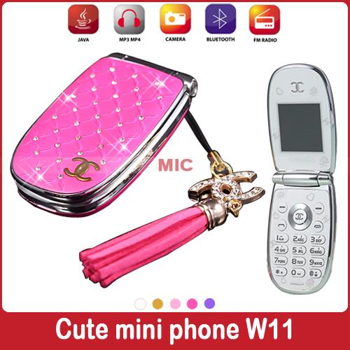 Russian Portuguese Flip lovely unlocked diamond small women kids girls diamond cute mini cell mobile phone cellphone W11 P451(China (Mainland))